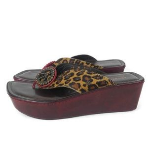 Donald J. Pliner Peace Wedge Cheetah Sandal 10